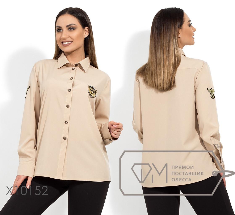 Женская прямая рубашка в больших размерах с декором 1uk1407