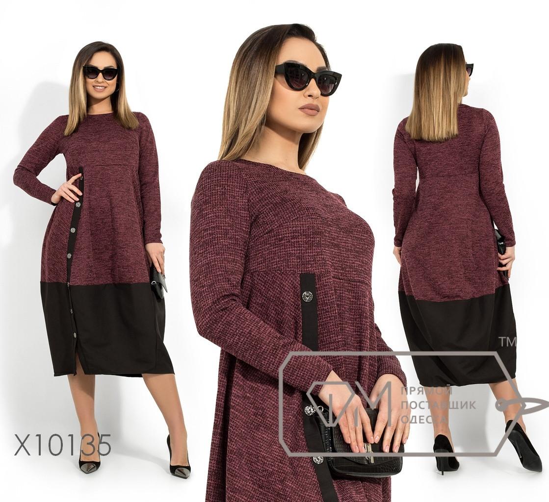 Платье-кокон в больших размерах из трикотажа с отделкой 1uk1412