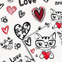 Упаковочная крафт бумага для цветов и подарков УП - Kitty Love на белом