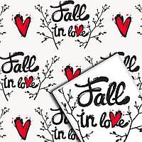 Упаковочная крафт бумага для цветов и подарков УП - Fall in Love на белом