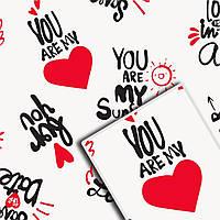 Упаковочная крафт бумага для цветов и подарков УП - With Love на белом
