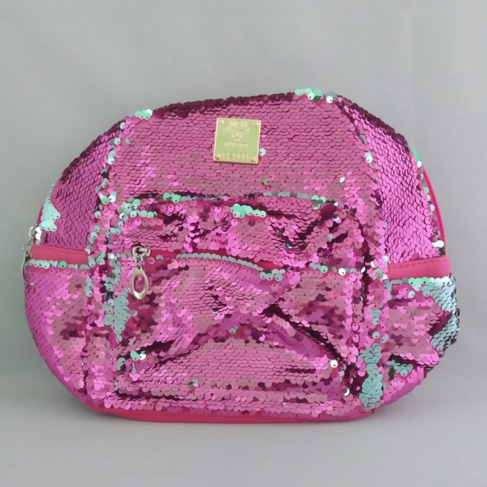 Рюкзак жіночий з екошкіри c паєтками 24x24x11 Рожевий