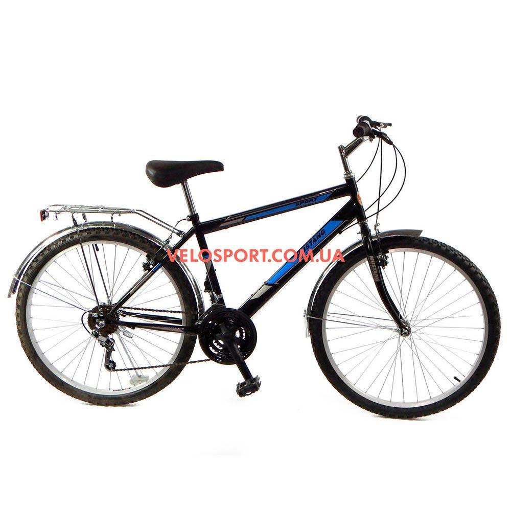Дорожный велосипед Mustang Upland 26 дюйма черно-синий