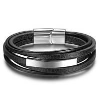 Мужской кожаный браслет Primo Jewelry Punk с магнитной застежкой
