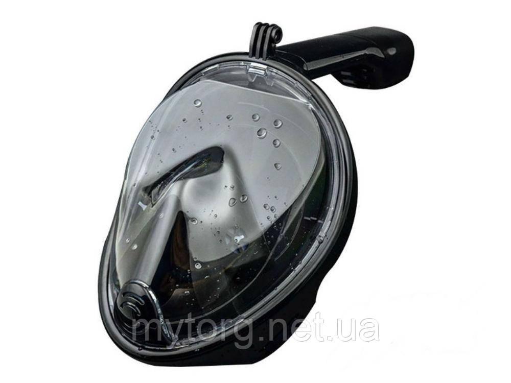 Маска для Снорклинга с креплением под экшн камеру. L/XL Черный