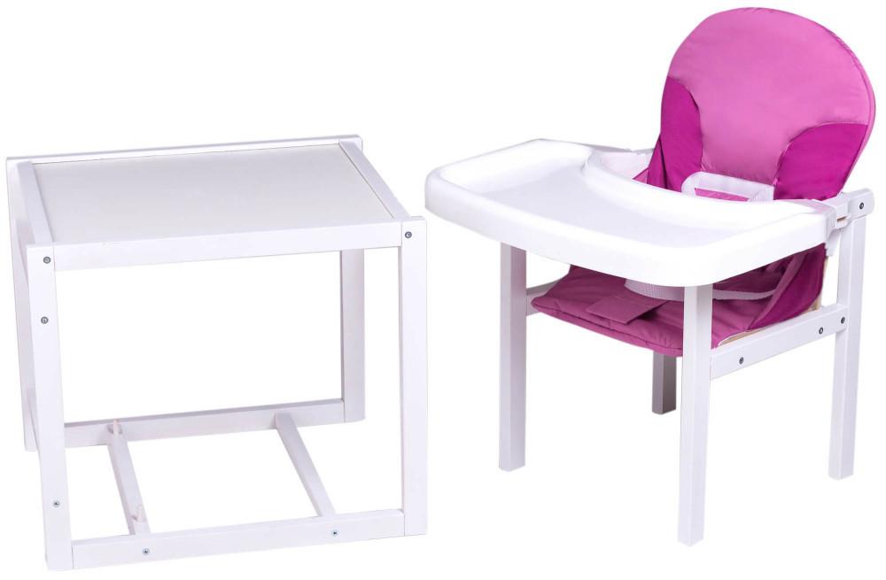 Стільчик - трансформер Babyroom Поні-240 білий пластикова стільниця малина-рожевий