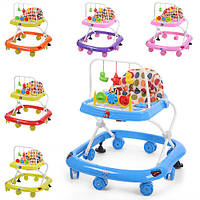 Ходунки детские дуга с подвесками,муз,свет,колеса 8шт, 2 стопора,на батарейке