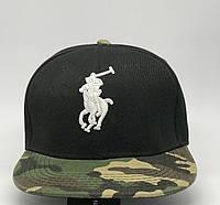 Бейсболка реперская snapback Polo 0652_1 черная с камуфляжем реплика