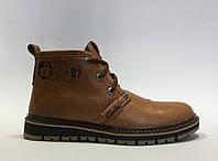 Ботинки мужские зимние Clarks 0926_2 рыжие матовые реплика