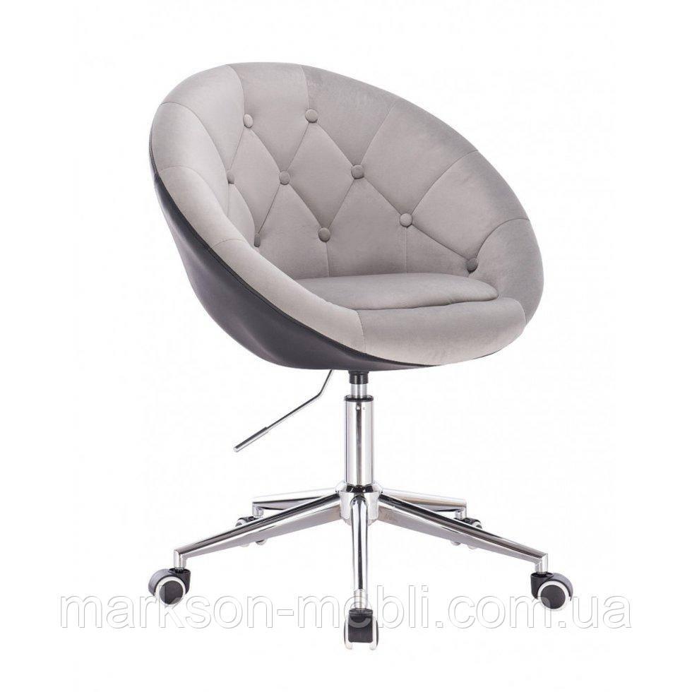 Косметичне крісло HR8516K сталевий-чорний велюр