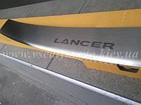 Накладка на бампер с загибом Mitsubishi Lancer X с 2007 г. (NataNiko)