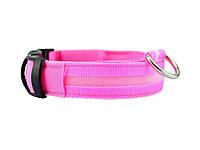 Светящийся ошейник для собак Ширина: 2.5 см, длина: 40-48 см, диапазон регулировки: 8 см (размер М) Розовый