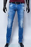 Джинсы мужские Philipp Plein 1100 синие с дырками реплика