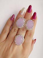 Комплект серебряных украшений с кварцем - кольцо и серьги