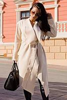 Кашемировое молочное женское пальто с отворотом на запах под пояс. Арт - 7770/93