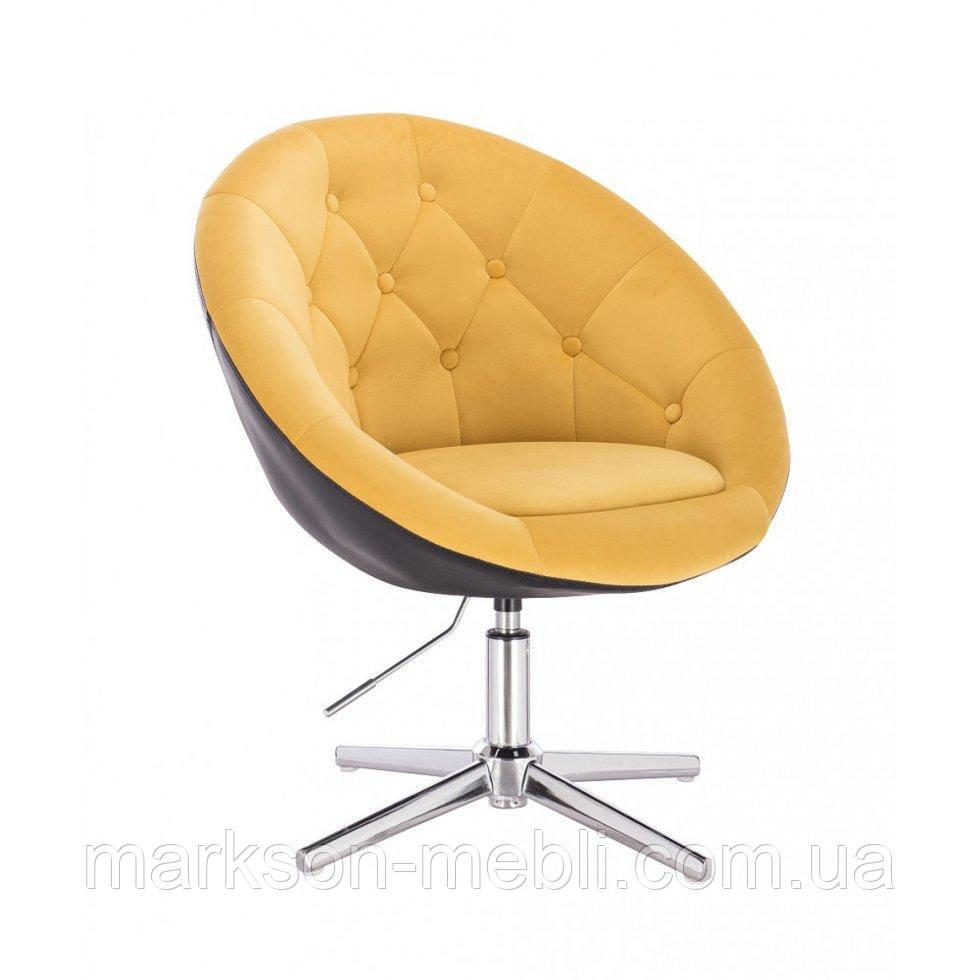Парикмахерское  кресло HROVE FORM HR8516 желто-черный велюр