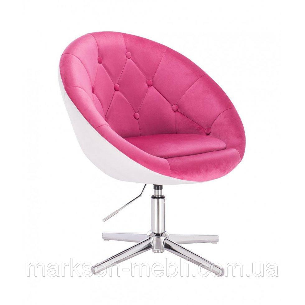 Перукарське крісло HROVE FORM HR8516 малиново-білий велюр