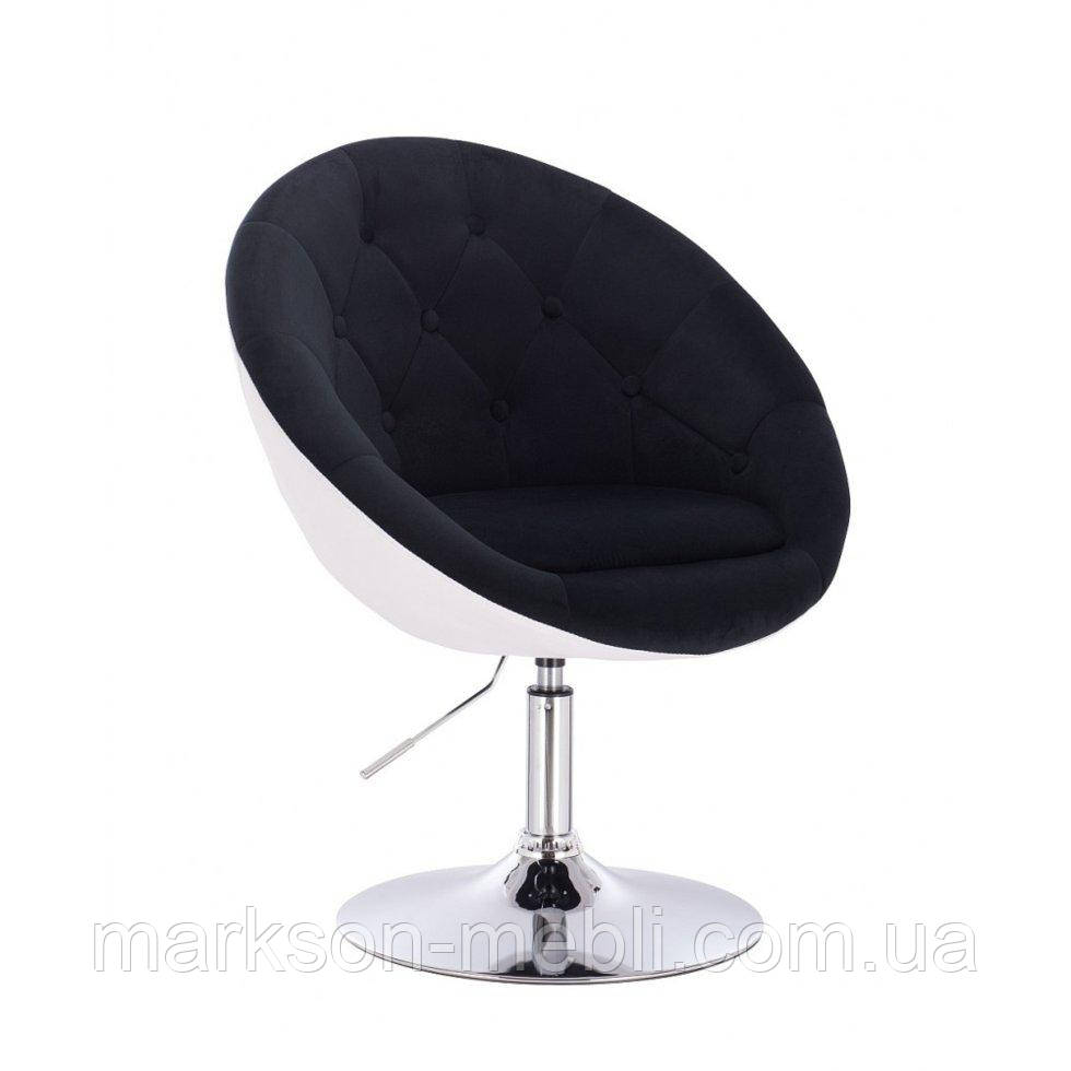 Парикмахерское  кресло HROVE FORM HR8516 черно-белый велюр