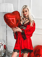 Красивый нарядный женский халат шелк армани с кружевом красный 42-48 50-56, фото 1