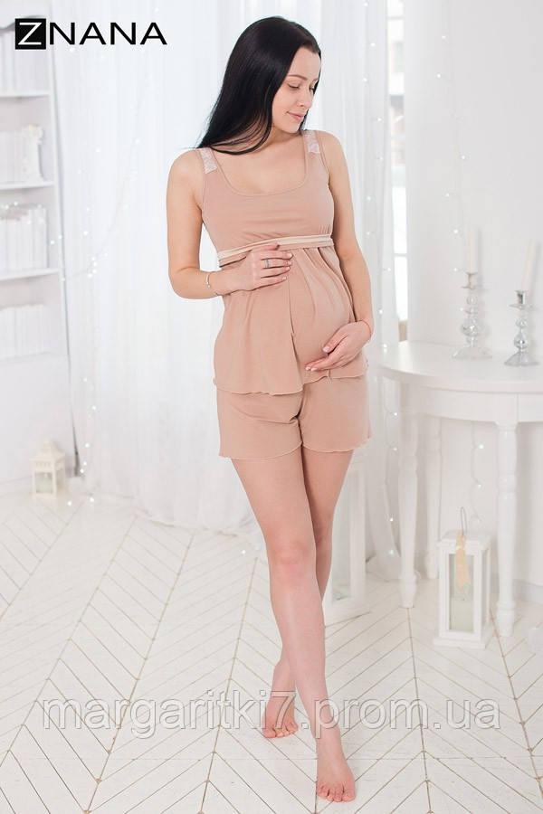 Комплект домашний для беременных и кормящих ZNANA Lace светло-бежевый