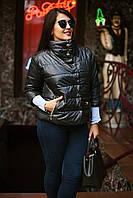 Стильная черная женская батальная куртка с воротником стойка и рукав 3/4. Арт-7772/93, фото 1