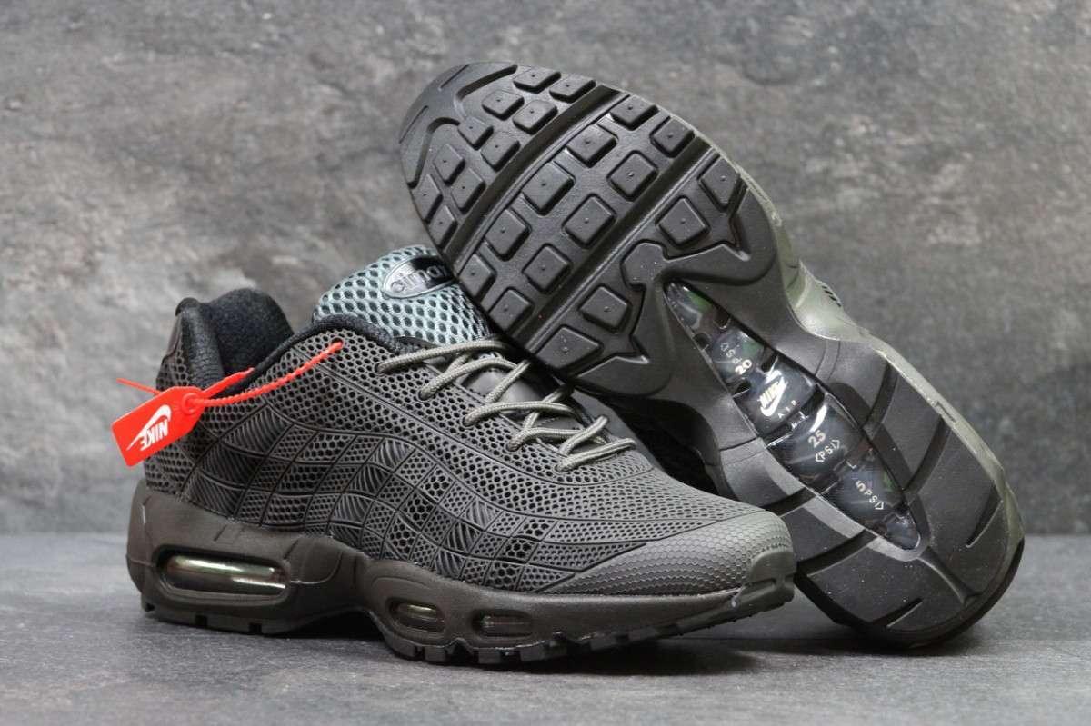 98d3408ba Кроссовки Мужские Серые с Черным Nike Air Max 95 5643 — в Категории ...