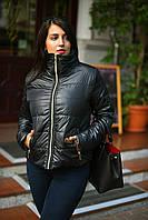 Стильная черная батальная женская демисезонная куртка на молнии. Арт-7773/93, фото 1