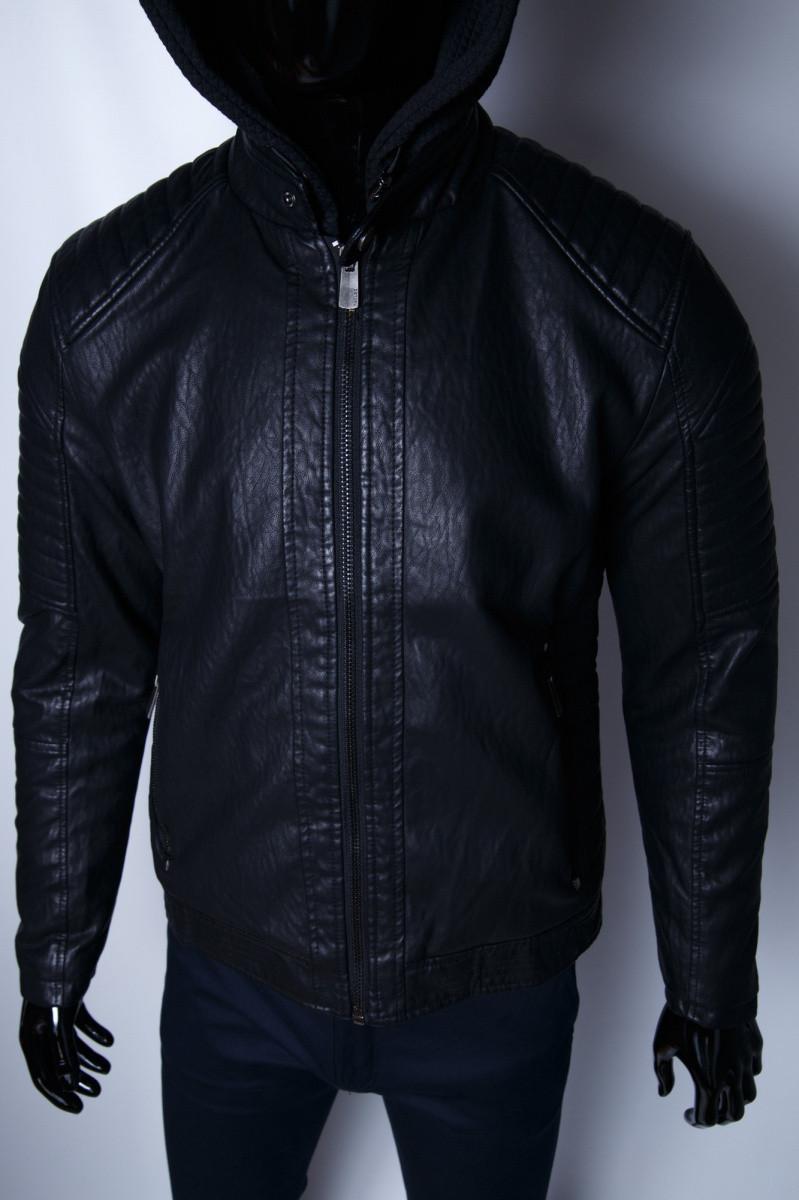 197f1c293d9 Куртка Мужская Зимняя Кожзам GS 067736 Черная — в Категории