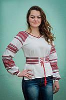 Женская вышиванка с красным орнаментом | Жіноча вишиванка з червоним орнаментом, фото 1