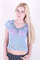 Летняя женская футболка ажурная
