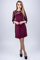 Женское нарядное платье с перфорацией Луиза 44-52 размера марсаловое, фото 1