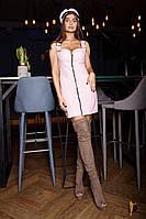 Короткое корсетное платье из экокожы на замшевой подкладке.  Размер:С,М. Цвет: бежевый (2415)