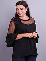 Туника нарядная с гипюром большого размера Амели черный