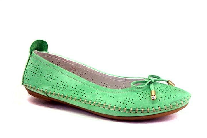 Зеленые балетки женские большой размер нубук Lodo V Green Perf Nub by Rosso Avangard BS летние