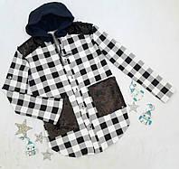 Рубашка с капюшоном на девочку, р. 128, 140, 152,164, белый+черный