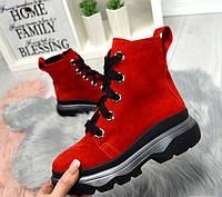 Замшевые ботинки женские весна черные красные TOPs1434