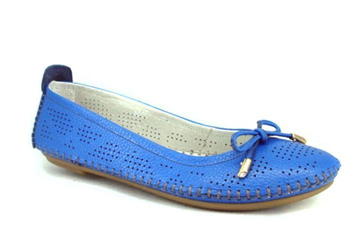 Голубые балетки женские большой размер Lodo V Blu Perf Lether by Rosso Avangard BS летние кожа