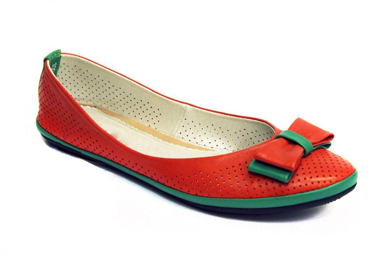 Большой размер балетки летние женские кожаные Scara V Orange Perf Leather by Rosso Avangard BS оранжевые