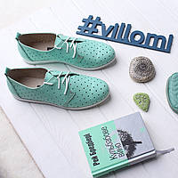 VM-Villomi Зеленые мокасины из натуральной кожи