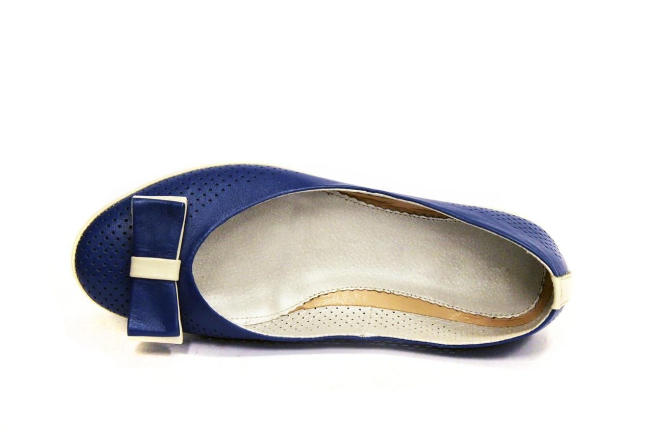Большой размер балетки летние женские кожаные Scara V Blu Perf Leather by Rosso Avangard BS синие