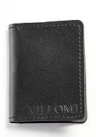 VM-Villomi Черный картхолдер с блестящей кожи черного цвета