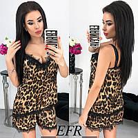 Красивый женский спальный комплект шорты маечка с кружевом леопард 42-44 46-48, фото 1