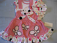 Детский  летний костюм х/б для маленькой девочки ,  Бабочки, 62, 74, 80 cm  Турция