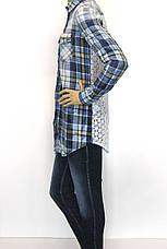 Жіноча сорочка-туніка в клітинку з мережевом,бісером ,перлинками  Saloon, фото 3