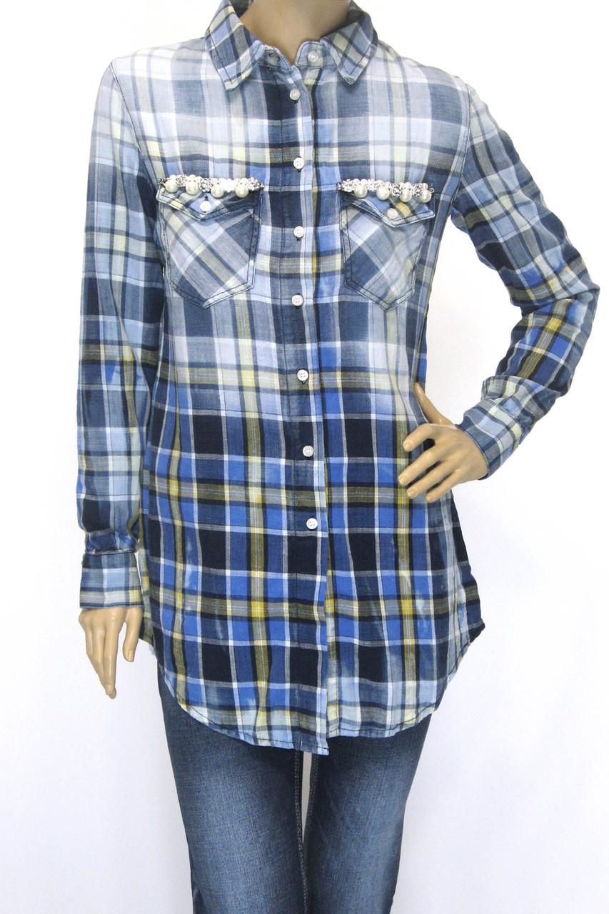 Жіноча сорочка-туніка в клітинку з мережевом,бісером ,перлинками  Saloon