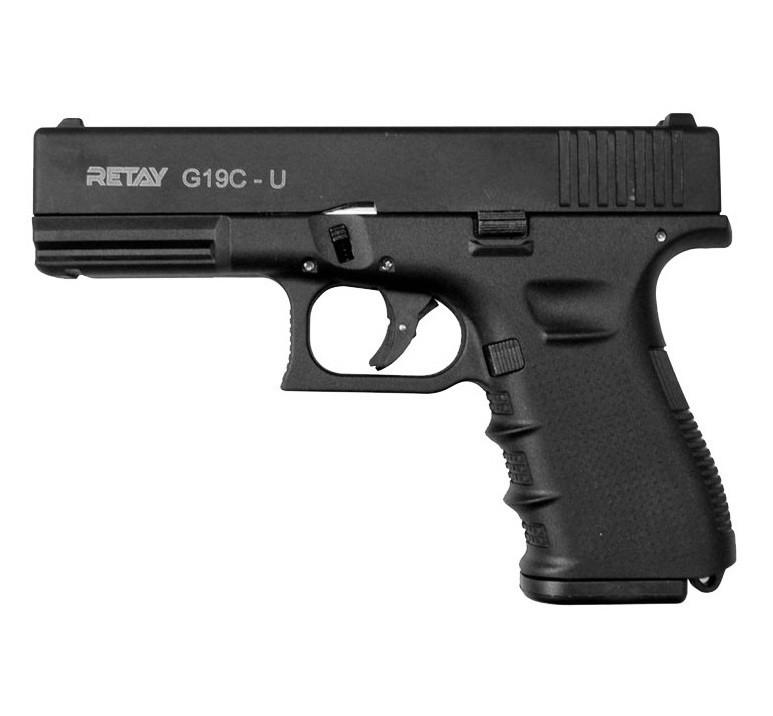 Пистолет сигнальный, стартовый Retay Glock G 19C (9мм, 14 зарядов), черный