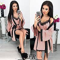 Красивый женский комплект халат пеньюар с кружевом розовый в полоску 42-44 46-48, фото 1