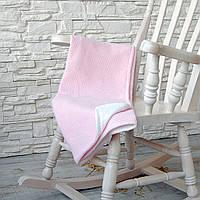 Вязаный детский плед-покрывало с натуральной подкладкой