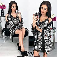 Красивый женский комплект халат пеньюар сердечки с кружевом 42-44 46-48, фото 1