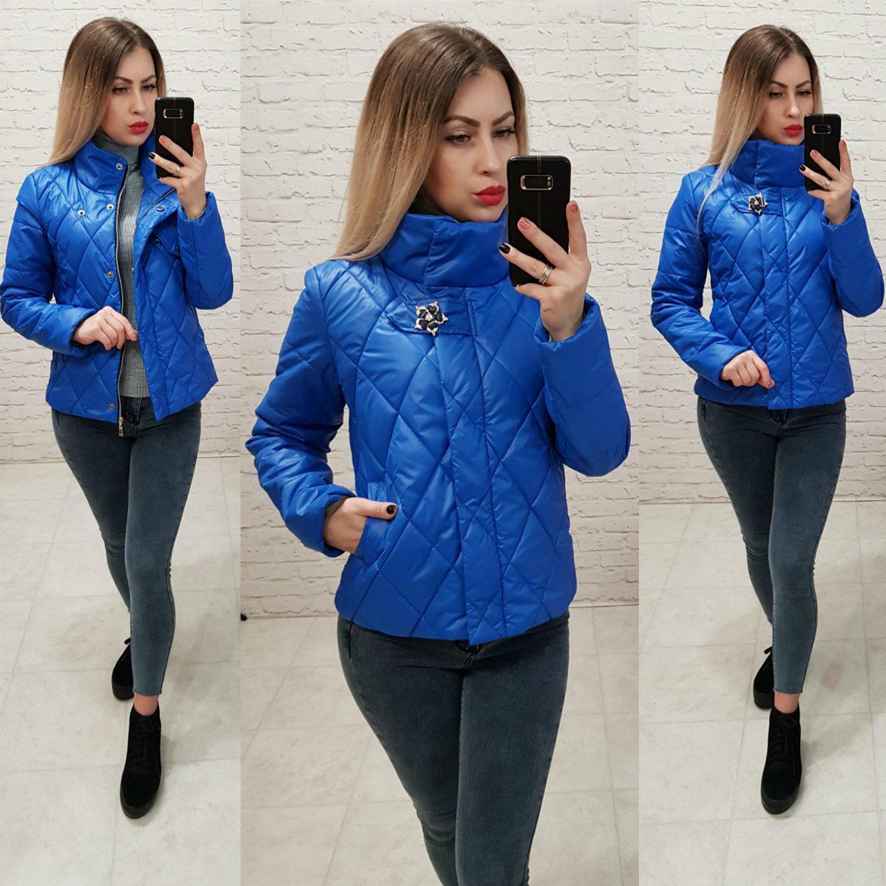 f4bf0e49 Куртка ветровка утепленная арт. 502 электрик / ярко синий - Интернет  магазин женской одежды Khan
